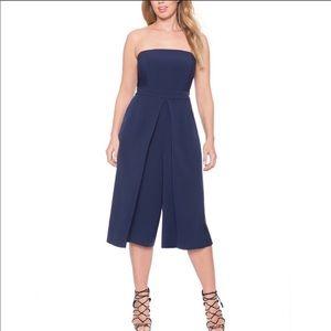 Eloquii Navy Blue strapless wide leg jumpsuit